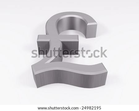 Silver pound symbol isolated on white 3d render - stock photo