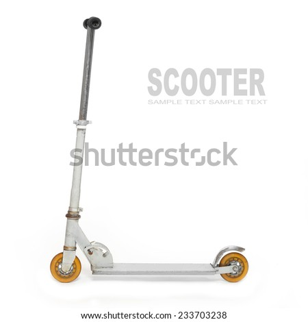 Silver push scooter. Funny and ecological transport. - stock photo