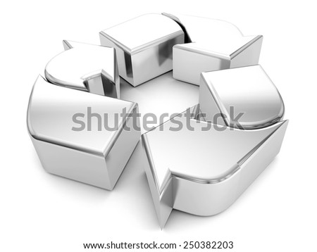 silver recycle symbol on a white background.