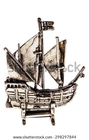 Silver reproduction of the columbus ship Nina isolated over a white background - stock photo