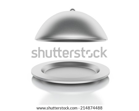 Silver Restaurant cloche on a white background - stock photo