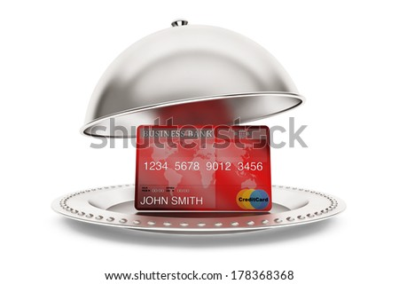 Silver Restaurant cloche with credit card on a white background - stock photo
