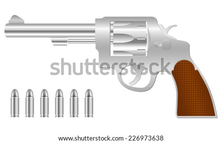 silver revolver and bullets illustration. - stock photo