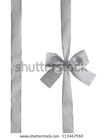silver ribbon and bow isolated on white with CLIPPING PATH - stock photo