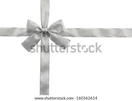 silver ribbon and bow isolated on white with precise CLIPPING PATH - stock photo