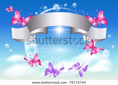 Silver ribbon and butterflies in the sky. Raster version of vector.