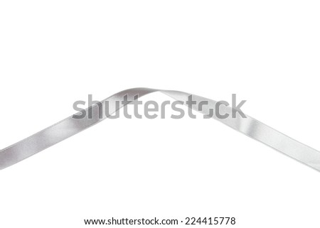 Silver ribbon on white background