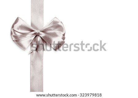 silver ribbon with bow - stock photo