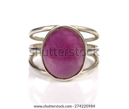 Silver ring with stone (pebble) on the white background - stock photo