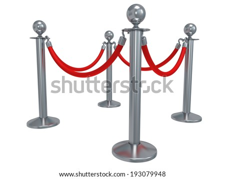 Silver rope barrier - 3d render. Fence with red rope isolated on white. Luxury, VIP concept - stock photo