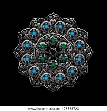 Silver Round Ornament Pattern with Blue and Green gemstones - Arabic, Islamic, East style
