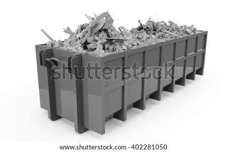 Silver rubble container perspective front view isolated on white background. 3D Rendering, 3D Illustration. - stock photo