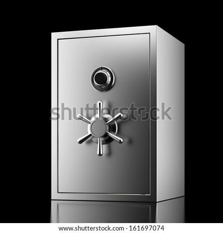 Silver safe - stock photo