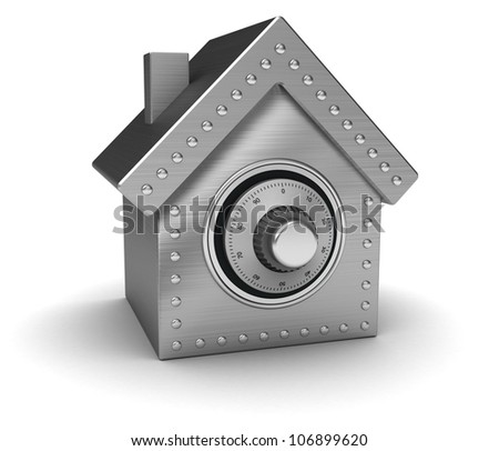 Silver safe in form houses isolated on white background - stock photo
