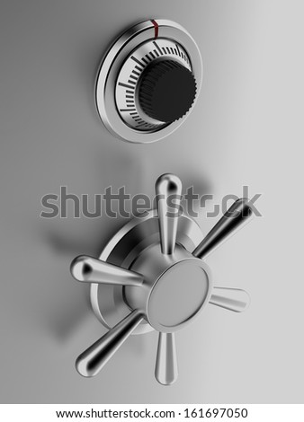 silver safe with code and handle - stock photo