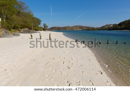 Silver Sands of Morar beautiful beach in Scotland clear turquoise sea on the coastline from Arisaig to Morar west coast of Scotland UK located south of Mallaig