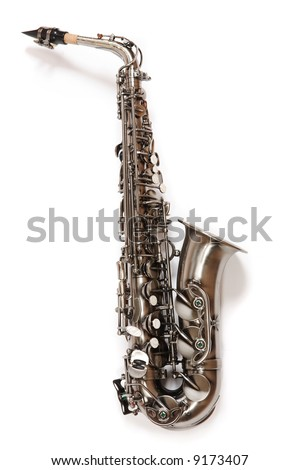 Silver saxophone over white. Musical Instrument. - stock photo