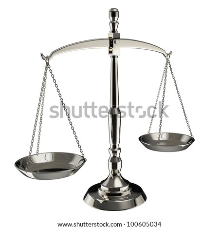 Silver scales of justice isolated on white background with clipping path. - stock photo