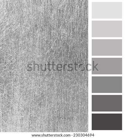 silver  scratched metal color complimentary palette - stock photo