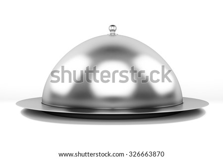 Silver serving dome or Restaurant cloche.Clipping path included - stock photo