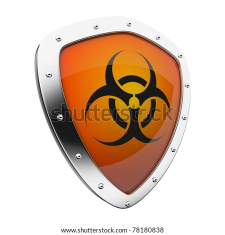 Silver shield with a biohazard symbol on an orange background.
