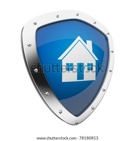 Silver shield with a home/house symbol on blue background.