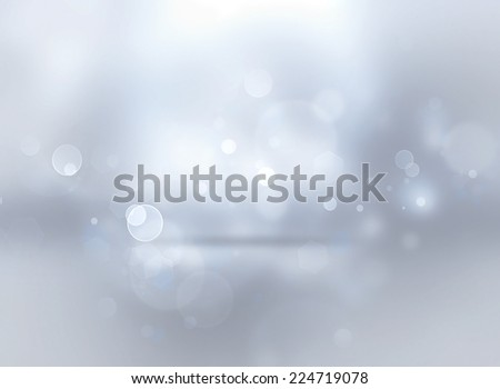 silver shining Christmas background with bokeh effect - stock photo