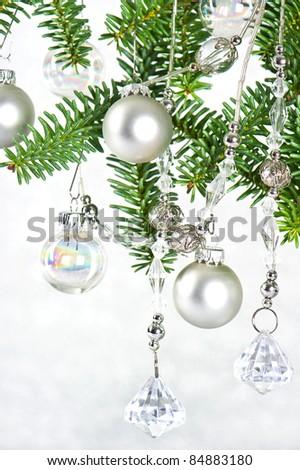 silver shiny christmas tree decoration - stock photo