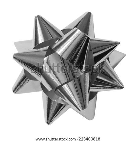 silver shiny gift bow isolated on the white - stock photo