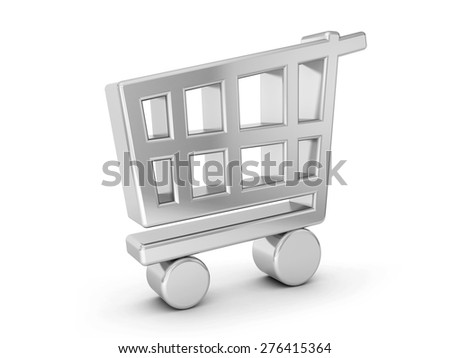 silver shopping cart symbol on a white background. - stock photo
