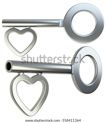 Silver skeleton key with heart shape isolated on white background 3d render