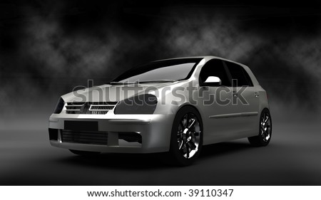 Silver small hatchback car / sportscar in smoke filled cloudy studio - stock photo