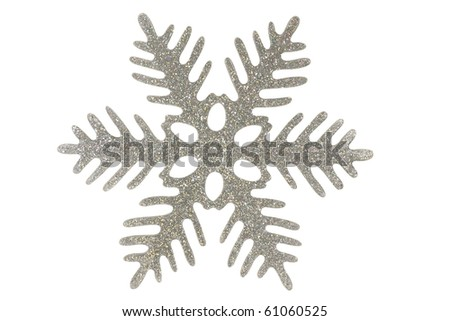 Silver snowflake	/ Silver snowflake isolated on a white background - stock photo