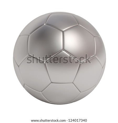 Silver soccer ball isolated on white background - stock photo