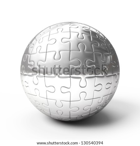 Silver spherical puzzle isolated on white background - stock photo