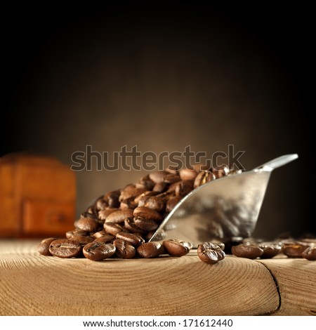 silver spoon of fresh brown coffee