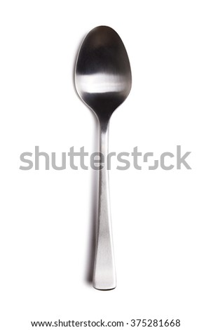 silver spoon over white background - stock photo
