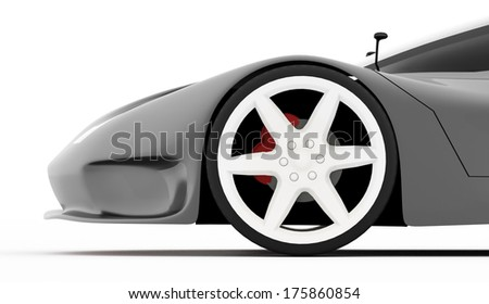 Silver sport car concept rendered - stock photo