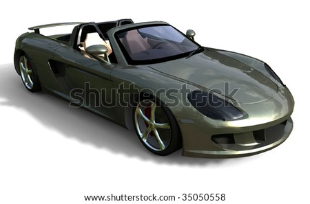 Silver Sports Car - Soft Top - stock photo