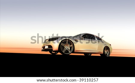 Silver sportscar / sports car car at sunset / sunrise with copy space