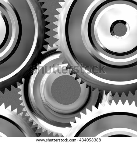 Silver sprockets background - abstract rendered illustration - stock photo