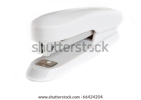 Silver stapler isolated on a white background - stock photo