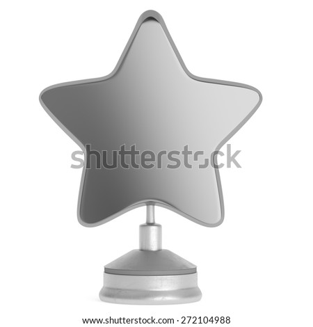Silver star award isolated on white background. 3d render - stock photo