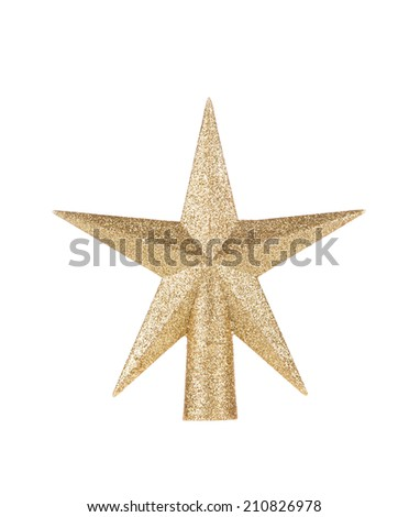 Silver star christmas decoration. Isolated on a white background. - stock photo