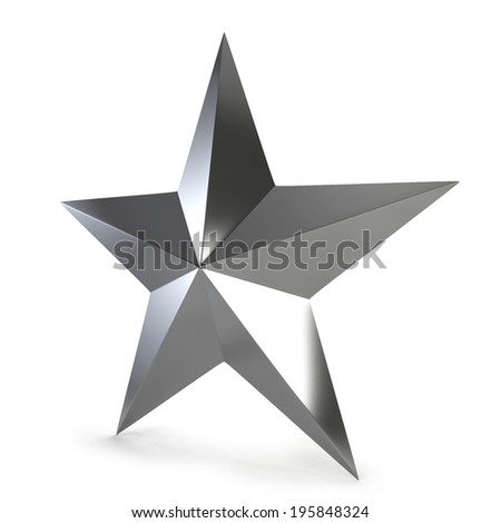 Silver star. 3d illustration isolated on white background  - stock photo