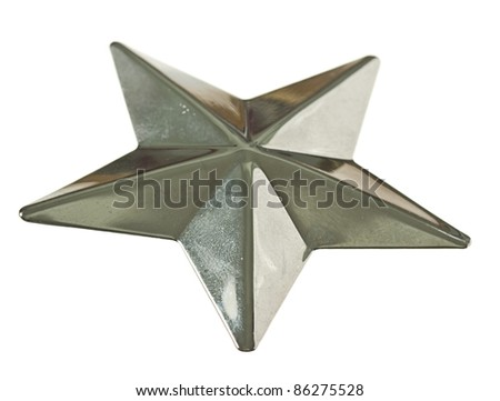 silver star isolated on a white background - stock photo