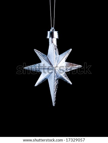 silver star on black background,Christmas bauble