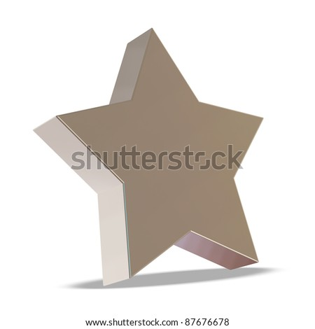 Silver Star on white background - stock photo