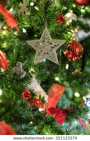 Silver star ornament on a christmas tree close-up - stock photo