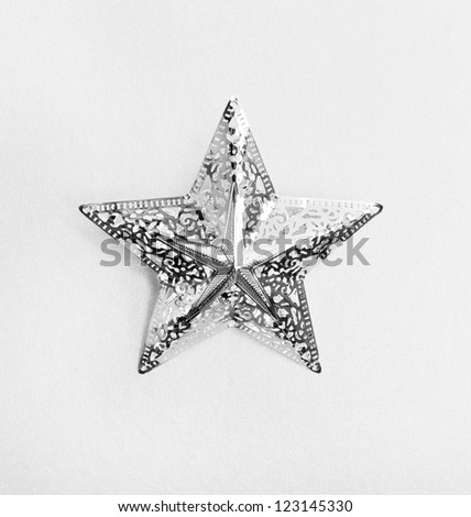 silver star with ornament - stock photo